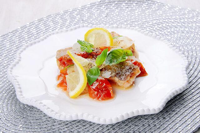 白身魚とドライトマトのエスカベッシュ