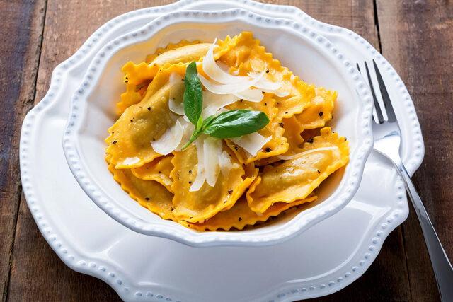 イラクサとリコッタチーズのラビオリ